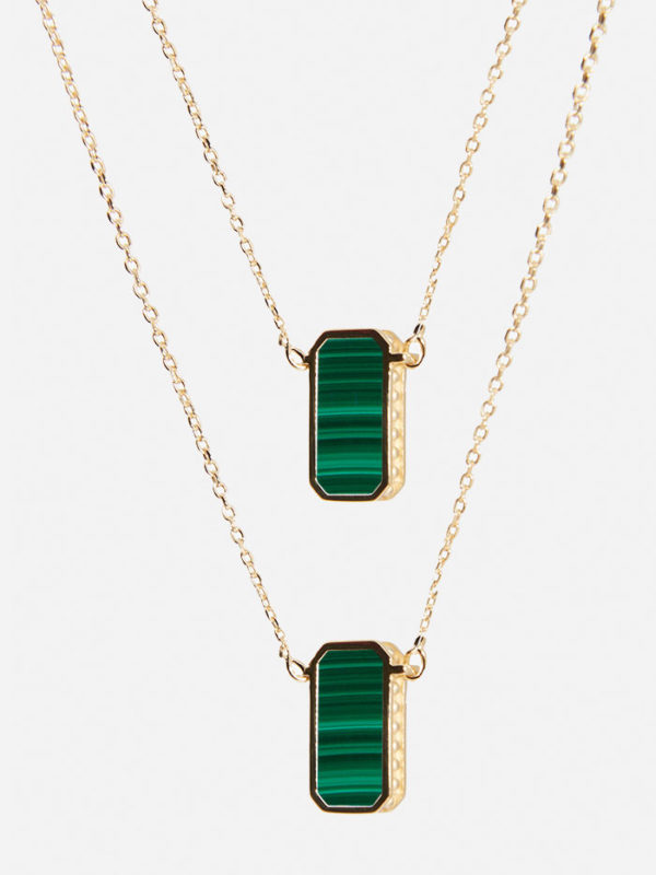 Collier Escapulario or malachite
